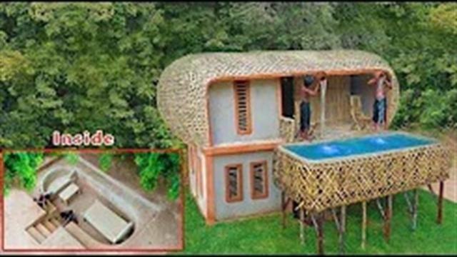 آموزش ساخت ویلای جنگلی دو طبقه با استخر هوایی مجزا و اتاق مخفی