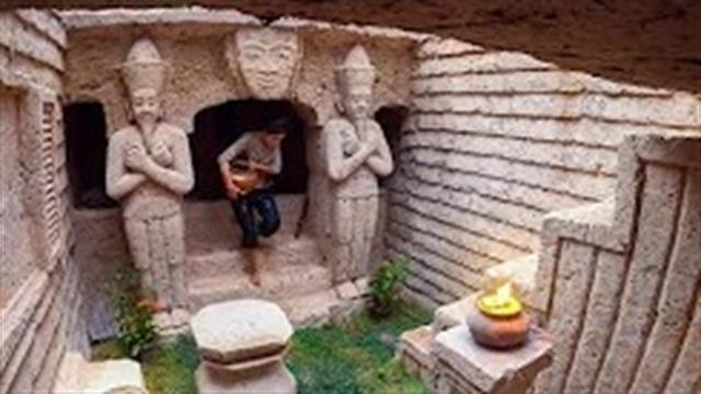 آموزش ساخت ویلای زیرزمینی باستانی بودایی