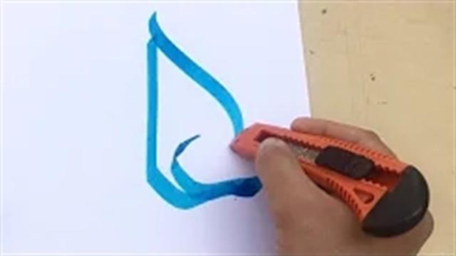 آموزش خطاطی حرفه ای با استفاده از کاتر تیغ موکت بری